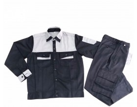 Quần áo bảo hộ phối màu tím than - ghi sáng VN02